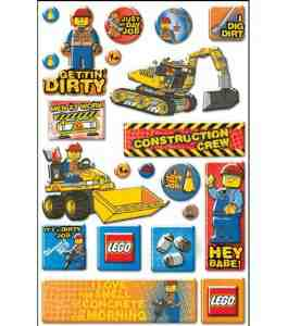 Lego Epoxy Stickers Construction Phrase